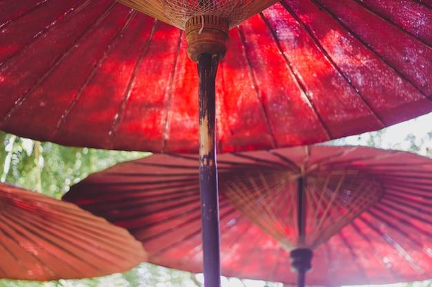 Paraguas rojo en el jardin