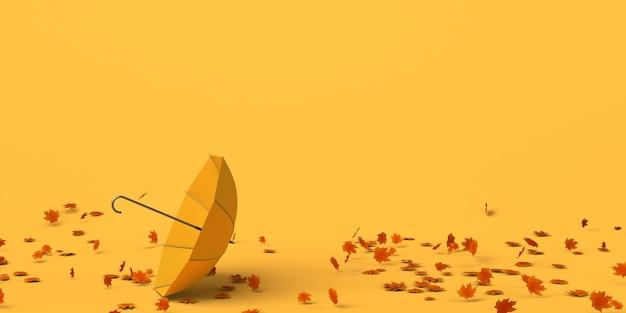 Paraguas en el suelo por el aire y las hojas de otoño. copie el espacio. ilustración 3d.