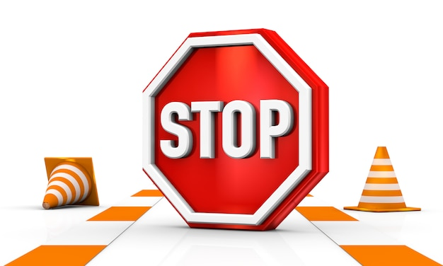 Pare la señal de tráfico con un cono de tráfico aislado en la representación blanca del ejemplo 3d del fondo