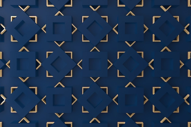 Pared 3d azul y oro para fondo, telón de fondo o papel tapiz