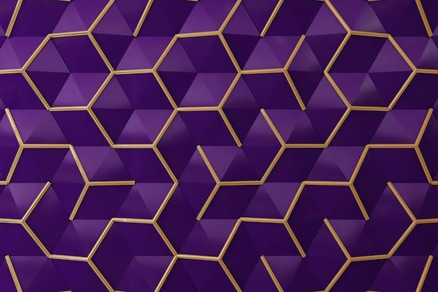 Pared 3d púrpura y oro para el fondo