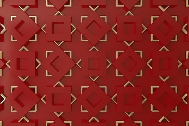 Pared 3d roja y dorada para fondo, telón de fondo o fondo de pantalla