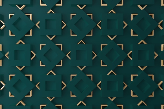 Pared 3d verde oscuro y dorado para fondo, telón de fondo o papel tapiz