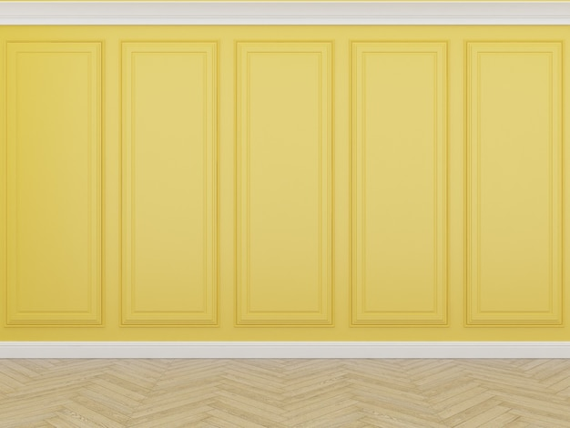 Pared amarilla clásica con piso de madera