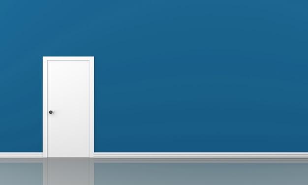 Pared azul 3d y una puerta en un piso vacío con espacio para su contenido