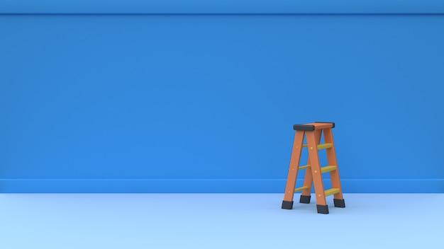 Pared azul en blanco y escalera naranja