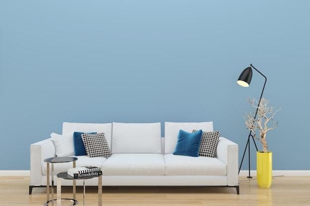 Pared azul sofá blanco piso de madera fondo textura lámpara planta jarrón