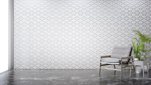 Pared de azulejos blancos en blanco sobre el piso de mármol de la sala de estar en casa moderna