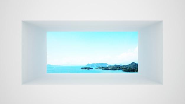 Pared blanca con ventana con vista al mar y cielo brillante.