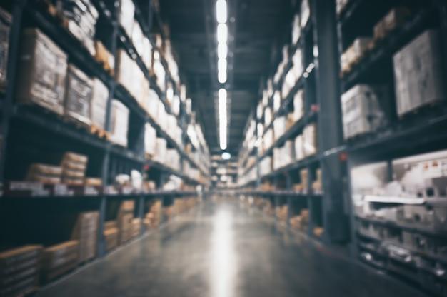 Pared borrosa de inventario de almacén de productos para logística, concepto de envío internacional de importación y exportación