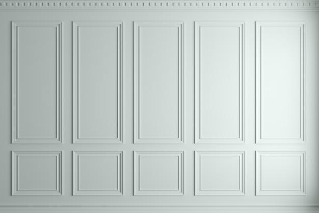 Pared clásica de la ilustración 3d del viejo fondo blanco elegante de los paneles