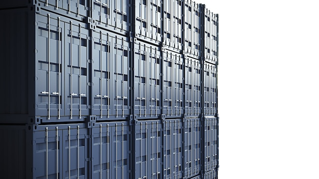 Pared de contenedores de carga azul. ilustración 3d de alta calidad