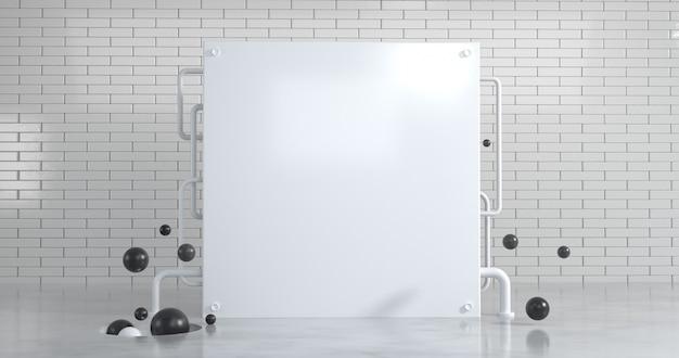 La pared cuadrada blanca con geometría abstracta sobre el fondo de la pared de ladrillo blanco.