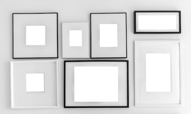 Pared con diferentes tipos de marcos