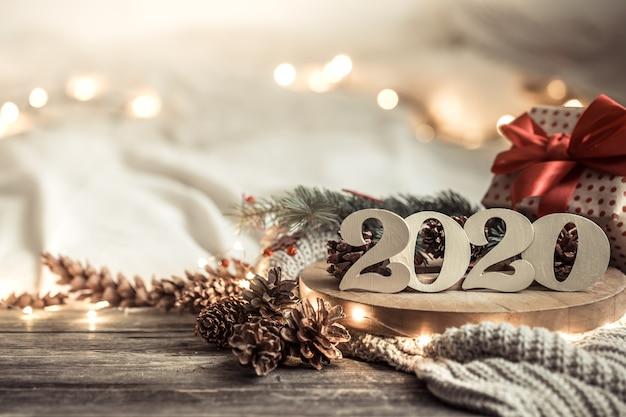 Pared festiva año nuevo números 2020.
