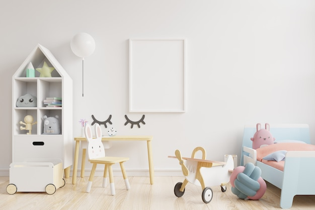 Pared en la habitación de los niños en el fondo de la pared blanca.