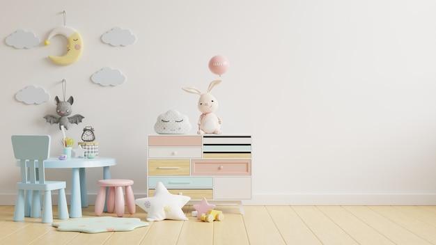 Pared en la habitación de los niños con mesa para niños en color blanco claro, renderizado 3d