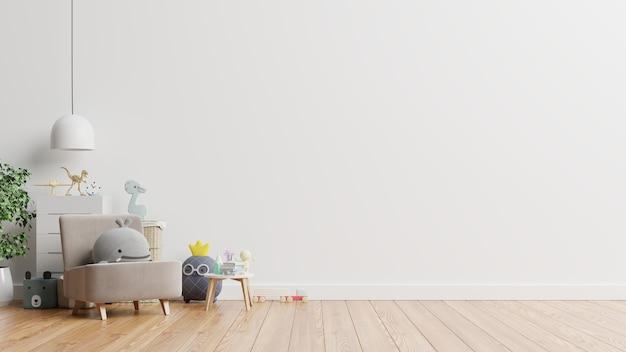 Pared en la habitación de los niños en la pared de colores blancos. representación 3d