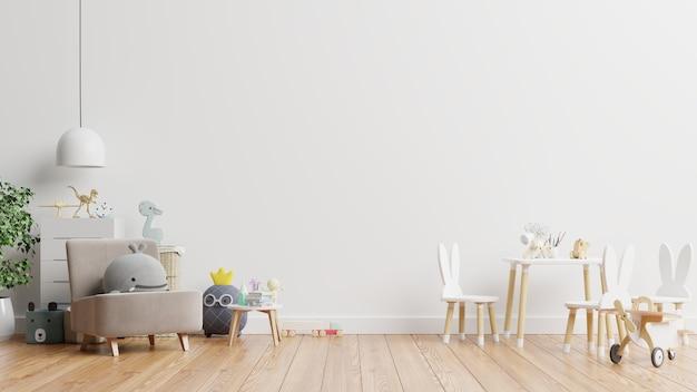 Pared en la habitación de los niños en la pared de colores blancos.