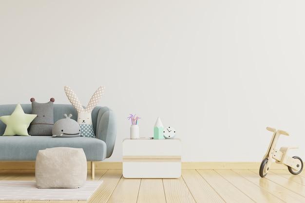 Pared en la habitación de los niños en la pared de fondo de colores blancos. representación 3d