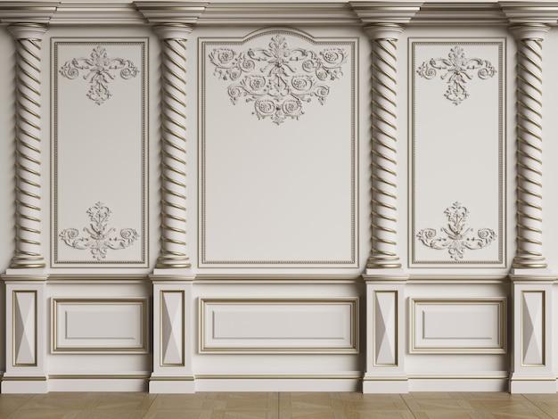 Pared interior clásica con columnas