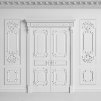 Pared interior clásica con cornisa y molduras. puertas con decoración. representación 3d