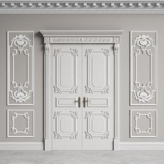 Pared interior clásica con cornisa y molduras. puertas con decoración.