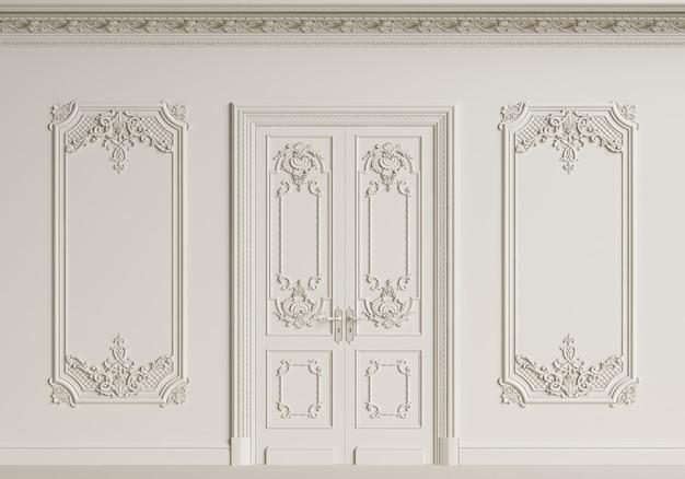 Pared interior clásica. molduras, cornisa adornada, puerta. representación 3d