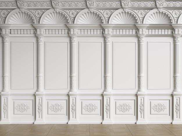 Pared interior clásica con molduras