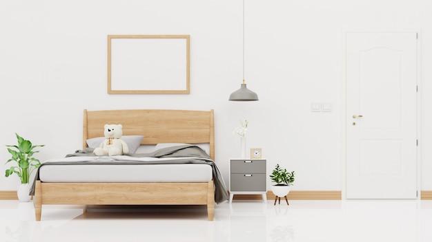 Pared interior del dormitorio con cama sin hacer, tela escocesa gris, plantas verdes y lámparas en la pared blanca vacía. renderizado 3d