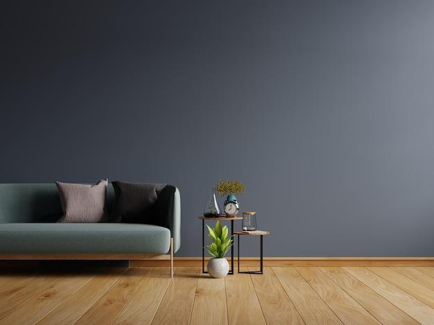 Pared en un interior moderno con sofá en la pared oscura vacía, representación 3d