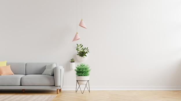 Pared interior de la sala de estar con sofá gris y planta, renderizado 3d