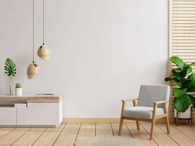 Pared interior de la sala de estar en tonos cálidos, sillón gris con mueble de madera representación 3d