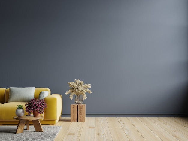 Pared interior de la sala de estar en tonos oscuros con sofá amarillo en la pared azul oscuro. representación 3d