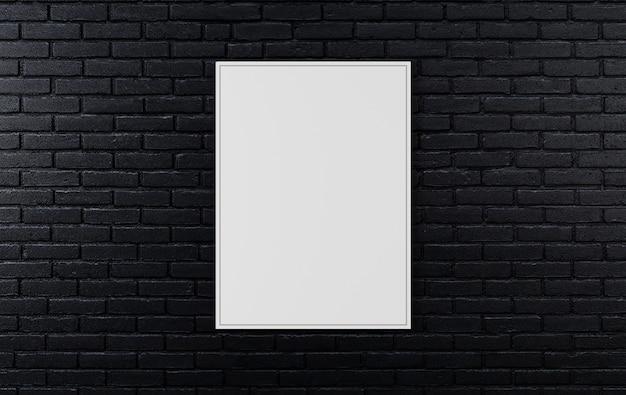 Pared de ladrillo negro, fondo oscuro para el diseño, maqueta cartel en la pared, render 3d