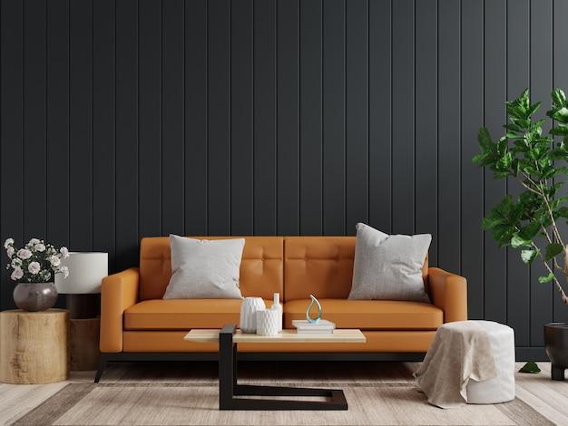 Pared de la maqueta en el fondo interior de la sala de estar oscura con sofá de cuero y mesa en la pared de madera oscura vacía, representación 3d