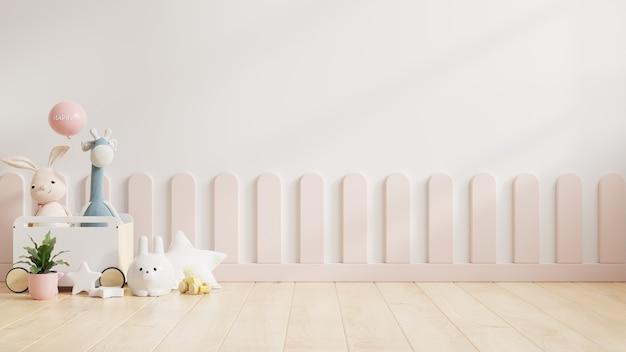 Pared de maqueta en la habitación de los niños con cochecito en fondo de pared de color blanco claro, representación 3d