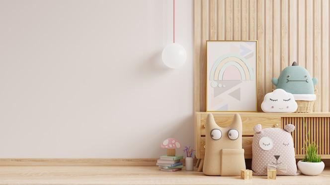 Pared de la maqueta en la habitación de los niños, interior del dormitorio en la pared de color blanco background.3d rendering