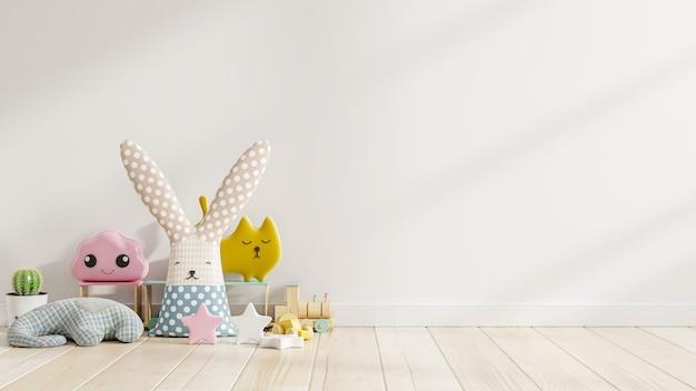 Pared de maqueta en la habitación de los niños con muñeca en fondo de pared de color blanco claro, representación 3d