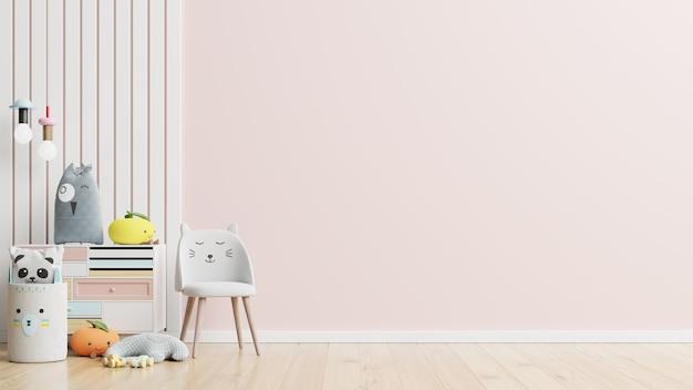 Pared de maqueta en la habitación de los niños en la pared de fondo de colores rosa. representación 3d