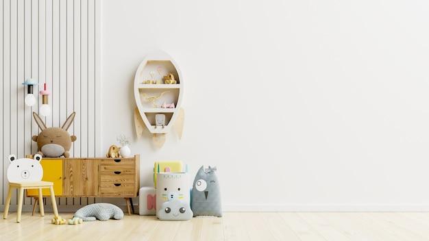 Pared de maqueta en la habitación de los niños en la pared. representación 3d