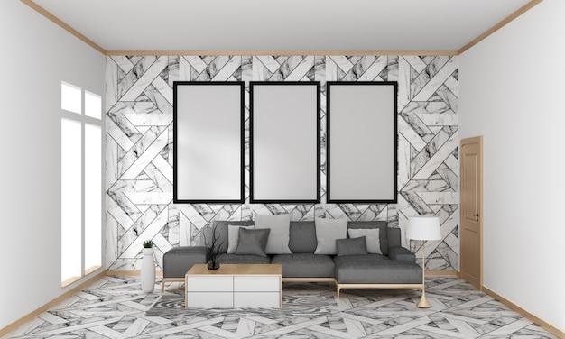 Pared moderna japonesa de la teja del granito de la sala de estar en el piso del granito, representación 3d