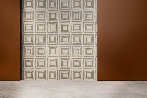 Pared con motivos geométricos habitación vacía diseño interior auténtico