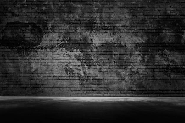 Pared oscura del viejo grunge con fondo de textura de piso de pared de cemento gris negro claro