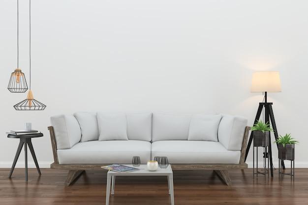 Pared piso de madera interior sofá silla lámpara interior sala de estar 3d
