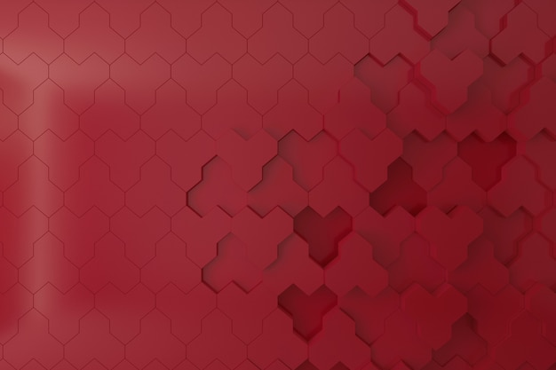 Pared roja 3d para fondo, telón de fondo o fondo de pantalla, colmena en forma de pared 3d.