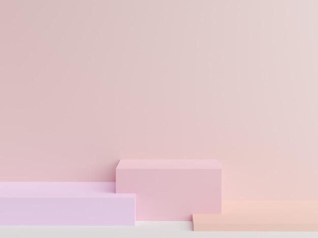 Pared rosa abstracta con figuras geométricas y espacio en blanco