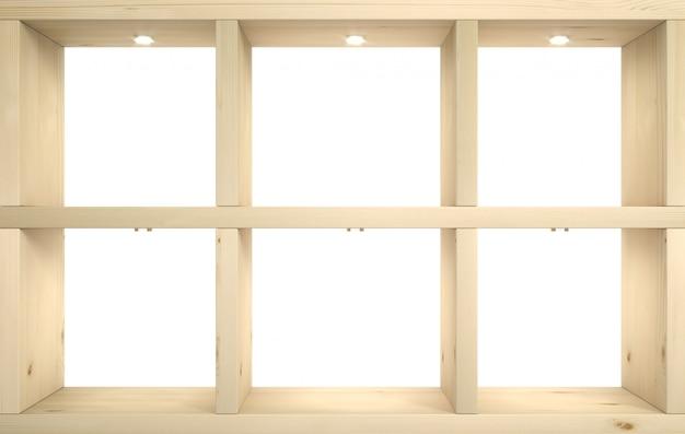 Pared de tienda con estantes de madera.