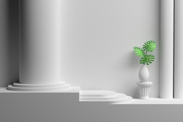 Pared vacía en blanco con columnas y jarrón con hojas de plantas