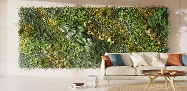 Pared verde viva en el diseño de interiores interior del jardín vertical 3d render